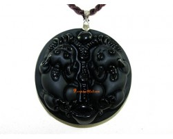 High Quality  Pair of Pi Yao Obsidian Pendant