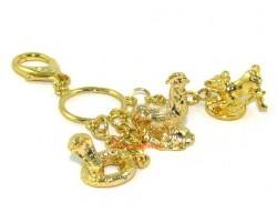 Golden Horoscope Allies and Secret Friend Keyring for Ox