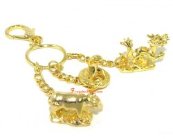 Golden Horoscope Allies and Secret Friend Keyring for Rooster