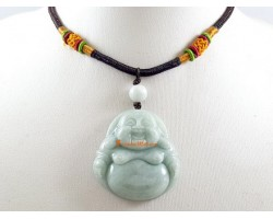Jade Laughing Buddha Pendant with Adjustable Necklace