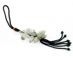 Jade Mystic Knot with Eight Flowers Hanging
