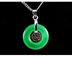 Jade Prosperity Coin Pendant with Stainless Steel Chain