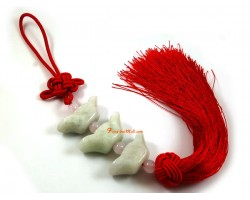 Jade Three Gold Ingots Tassel for Wealth