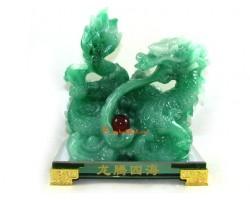 Jadeite Feng Shui Dragon Spewing Sheng Chi Pearl