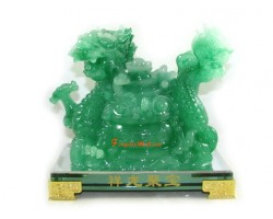 Jadeite Feng Shui Dragon with Wealth Pot