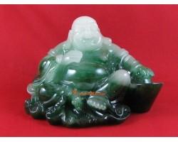 Jadeite Laughing Buddha Resting on Giant Gold Ingot