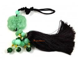 Jadeite Pair of Good Fortune Piyao Tassel