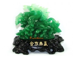 Jadeite Feng Shui Pair of Running Horses