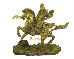 Brass Kwan Kong Charging on Horse (L)