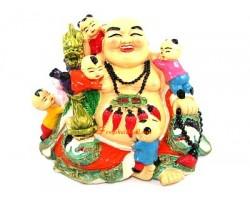 Laughing Buddha with Children and Dragon Ru Yi