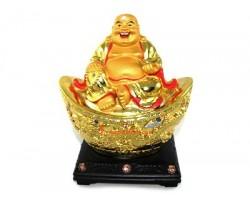 Laughing Buddha on Giant Gold Ingot
