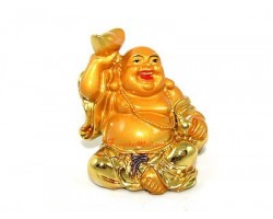 Golden Laughing Buddha with Ingot and Wulou