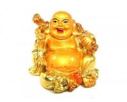 Golden Laughing Buddha with Money Bag and Ru Yi