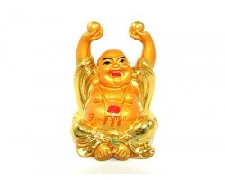 Golden Laughing Buddha with Pearls