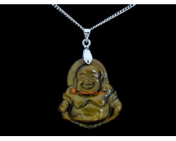 Laughing Buddha Crystal Pendant Necklace (Tiger Eye)