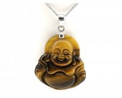 Laughing Buddha Crystal Pendant Necklace (Tiger Eye)