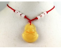 Laughing Buddha Pendant with Adjustable Necklace