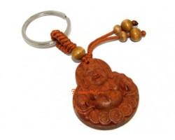 Laughing Buddha Wood Keychain