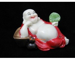 Red Robe Laughing Buddha with Ingot and Wu Lou