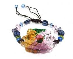 Colorful Liu li Crystal Dragon and Phoenix Bracelet