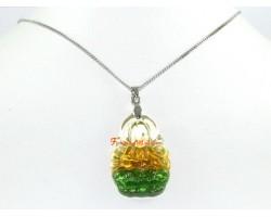 Liuli Glass Kuan Yin Pendant Necklace