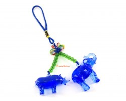 Blue Liuli Elephant and Rhino Protection Amulet