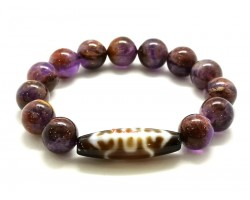Longevity Fortune Dzi Bead with Amethyst Phantom Quartz Bracelet