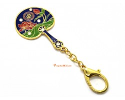 Lotus Mirror Fan Brings Prosperity and Success Energies Your Way Keychain