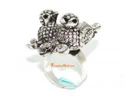 Bejeweled Mandarin Ducks Feng Shui Ring for Love Luck
