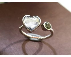 Meteorite Heart with Moldavite Adjustable 925 Silver Ring
