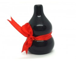 Mini Black Obsidian Wu Lou with Red Ribbon