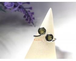 Moldavite Open End Adjustable Silver Ring