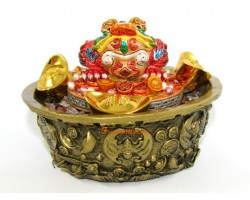 Money Frog on Wealth Pot with Crystal Chips and Five Grains