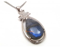 Moonstone Rain Drop Framed Pendant