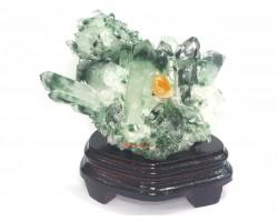 Natural Green Phantom Quartz Cluster with Citrine