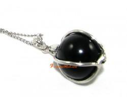 Obsidian Ball Pendant in Silver Frame