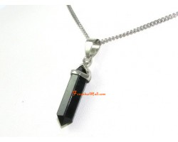 Obsidian Crystal Point Pendant Necklace (L)