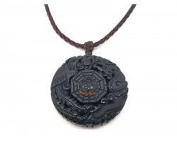Obsidian Dragon and Phoenix with Bagua Pendant