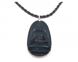 Obsidian Guardian Deity Horoscope Protector Pendant for Dog & Boar
