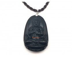 Obsidian Guardian Deity Horoscope Protector Pendant for Sheep & Monkey