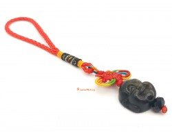 Golden Obsidian Head of Laughing Buddha Mobile Hanging