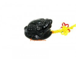 Obsidian Money Frog to Attract Wealth Amulet
