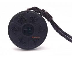 Obsidian Om Mani Padme Hum with Swastika Pendant