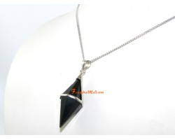 Obsidian Pendulum Pendant in Silver Frame
