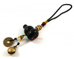 Obsidian Wu Lou for Health with Bell Hanging