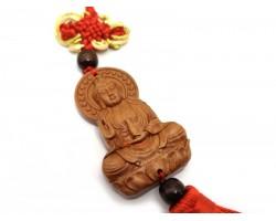 Om Mani Kuan Yin Wood Amulet Tassel