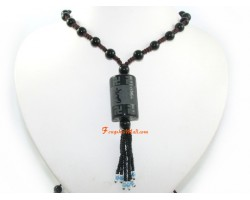 Om Mani Padme Hum Obsidian Bead Necklace