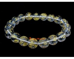 Clear Quartz Om Mani Padme Hum Bracelet (10mm)