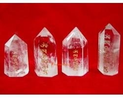 Om Mani Padme Hum Clear Quartz Crystal Point