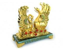 Pair of Good Fortune Golden Swans